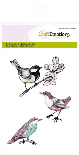 CraftEmotions clearstamps A6 - vogels Botanical