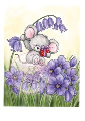 Wild rose stempels - Mouse on Bluebell