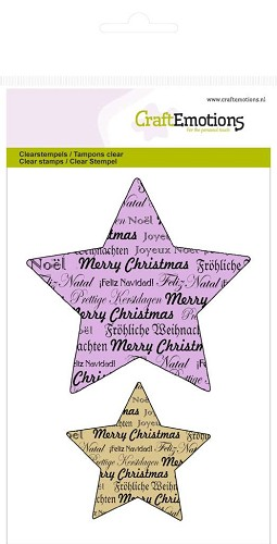 CraftEmotions clearstamps A6 - 5 punts ster - tekst kerst Purple Holiday