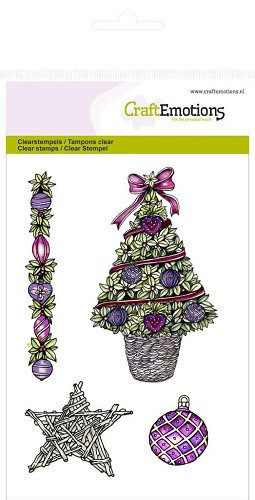 CraftEmotions clearstamps A6 - Kerstboom, ster Purple Holiday