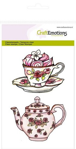 CraftEmotions stempel - Theepot, kop en schotel High Tea Rose
