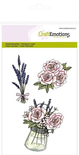 Craft Emotions stempel - Pot met rozen en lavendel High Tea Rose