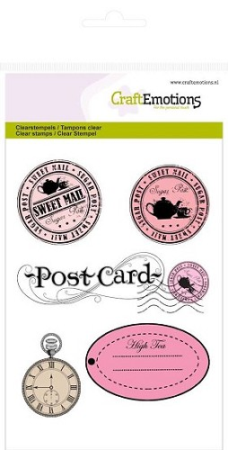 Craft Emotions stempel - stempels en label High Tea Rose