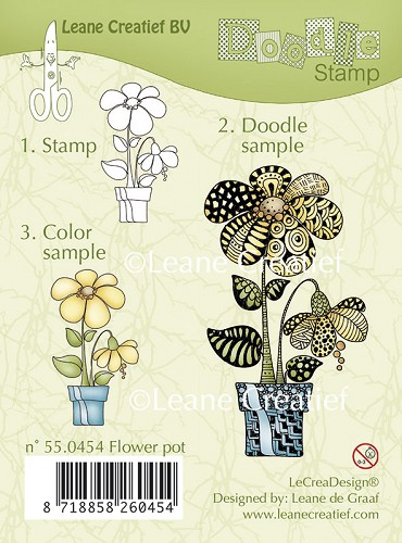 Doodle clear stamp Flower pot