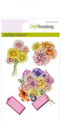 CraftEmotions stempel - Chrysanten boeket Botanical Summer