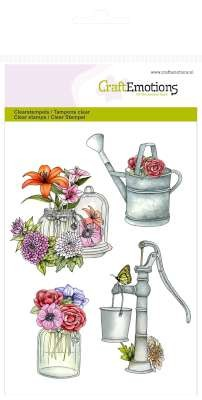 CraftEmotions stempel - pomp en gieter Botanical Summer