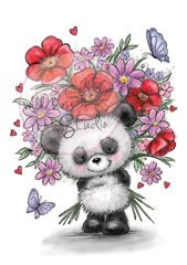 Wild Rose Studio`s A7 stamp set Panda with Flowers CL452