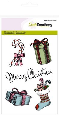 CraftEmotions clearstamps A6 - Merry Christmas - cadeau`s Sweet Vintage Christmas