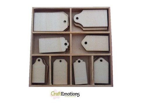CraftEmotions Houten ornament - labels 40 pcs - box 10,5x10,5cm