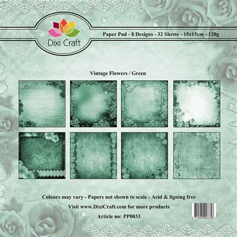 dixi craft vintage flowers green