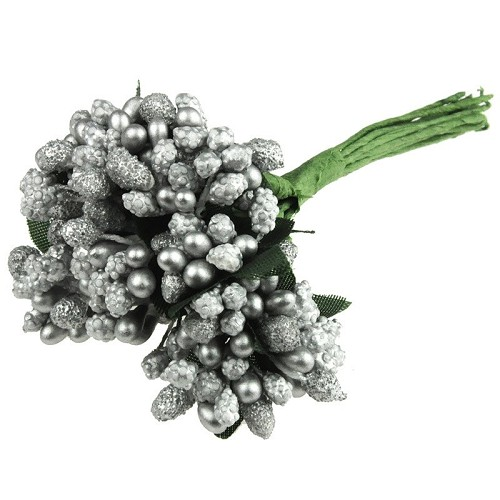 SILVER BEAD BERRY SPRAY CLUSTERS