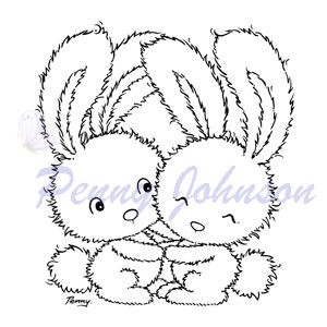 Penny Johnson Clearstamp - Two Cute Rabbits
