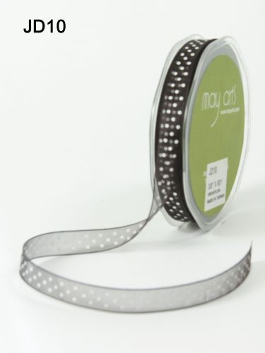 May Arts Lint - Organza Dots - zwart