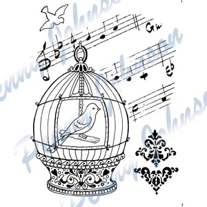 Clearstamps Penny Johnson Vintage - Birdcage
