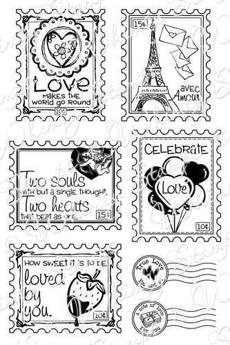 Whimsy stamps - Love postage stamps