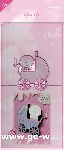 Joy! stencil baby met kinderwagen Open Up
