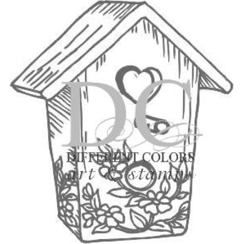 bird cottage - different colors houten stempel
