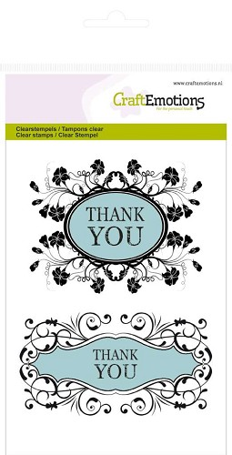 CraftEmotions clearstamps A6 - Thank you Botanical