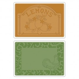 658970 Sizzix Textured Impressions Embossing Folders Rooster Frame & Lemon Label