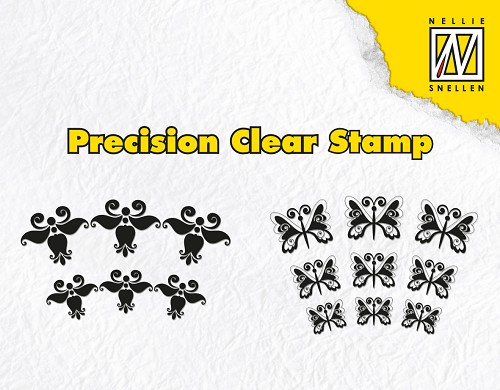 Precision clear stamps lyre flower & butterfly