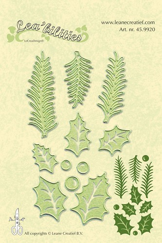 Lea'bilitie® holly leave, pine branches snij en embossing mal