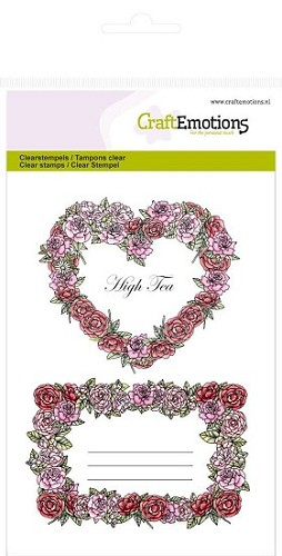 Craft Emotions stempel - Rozen labels High Tea Rose