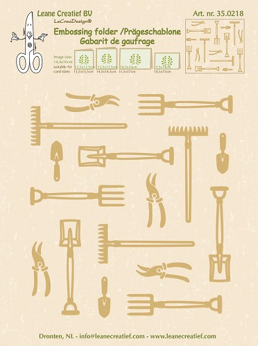 Embossing folder Garden tools large 14.4x16cm