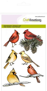 CraftEmotions clearstamps A6 - kardinaalvogels Home for Christmas