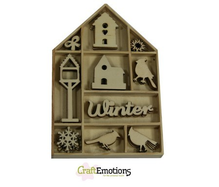 CraftEmotions Houten ornament - vogel, vogelhuisje 50 pcs - Home for Christmas