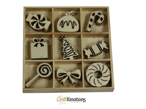 CraftEmotions Houten ornament - Sweets 45 pcs - Sweet Vintage Christmas