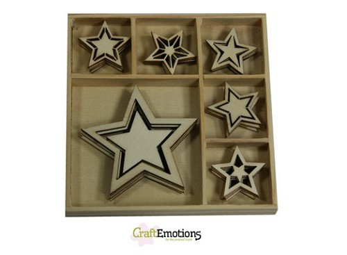 CraftEmotions Houten ornament - 5 punt sterren 30 pcs - Sweet Vintage Christmas