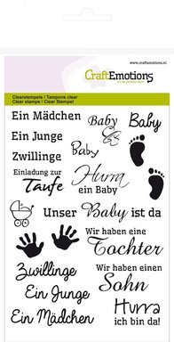 CraftEmotions clearstamps A6 - tekst DE Baby