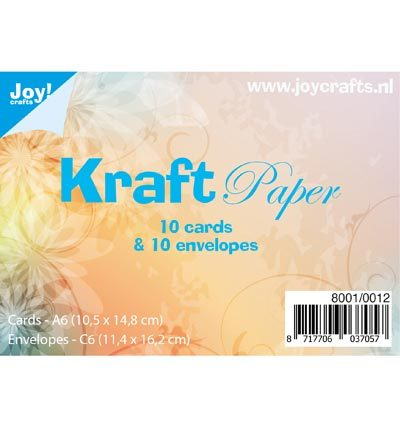 Joy Crafts - Kraft Paper kaarten+enveloppen - 10 Cards 14.8x10.5cm / 10 Env. 11.4x16.2cm