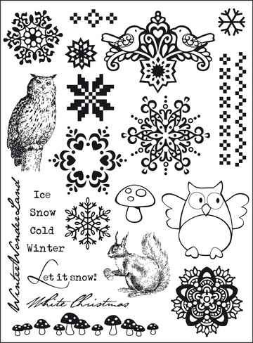 Elines Winterhuis - Clearstamps Let it Snow