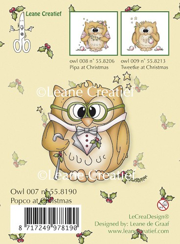 Clear Stamp Owl popco at Christmas