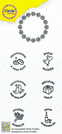 Circle clear stamps Marriage-serie French Texts