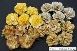 20 MIXED EARTH TONE MULBERRY PAPER CARNATION FLOWERS